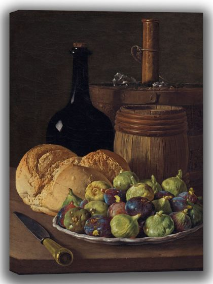 Meléndez, Luis: Still Life with Figs and Bread. Fine Art Canvas. Sizes: A4/A3/A2/A1 (004108)